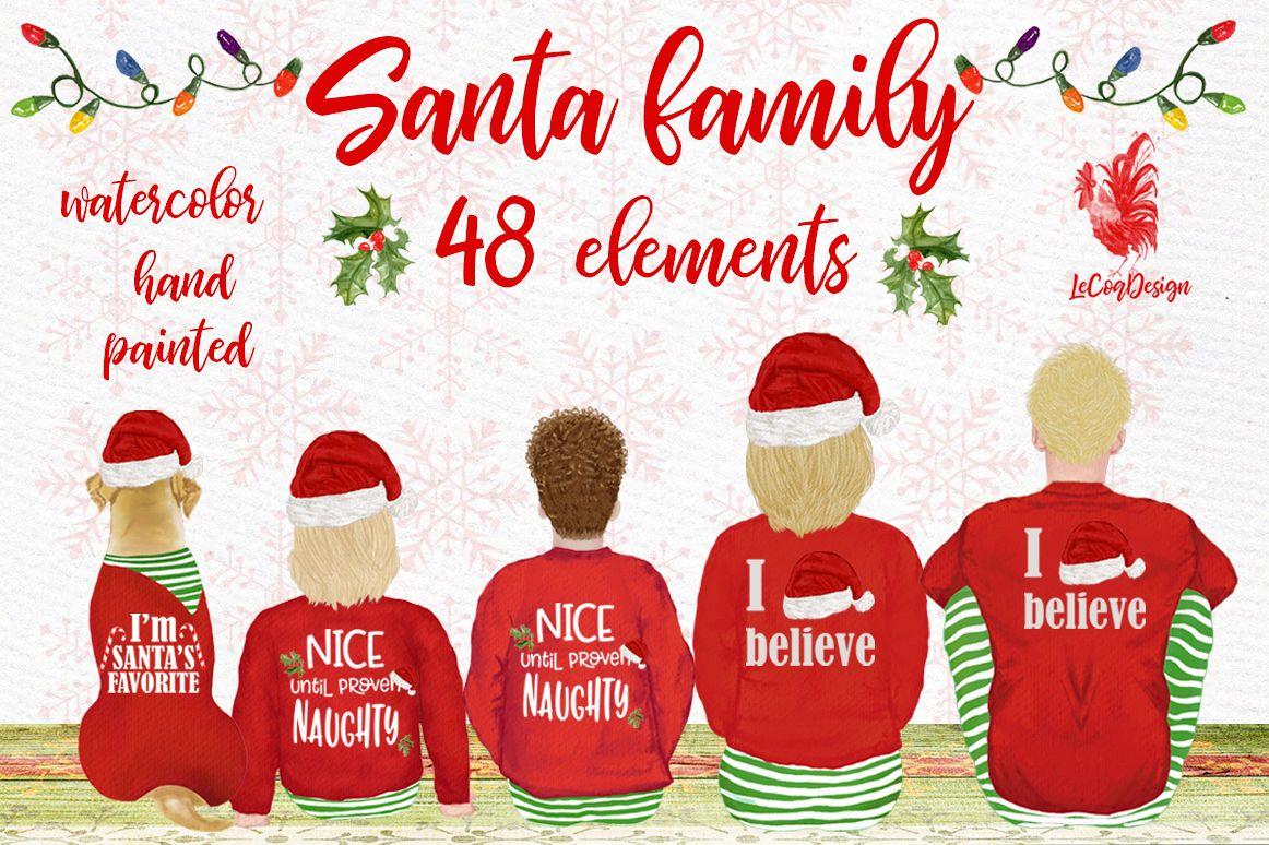 Christmas family clipart, Santa hat, Santa matching pajamas example image 1
