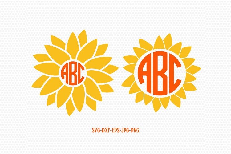 sunflower svg  sunflower monogram svg  summer monogram frames svg cricut files frame cricut