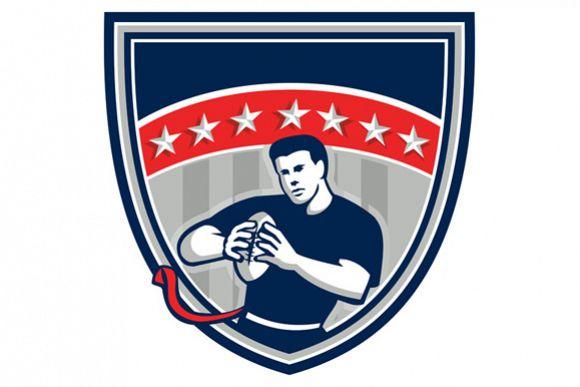 Flag Football QB Player Running Stars Crest Retro example image 1