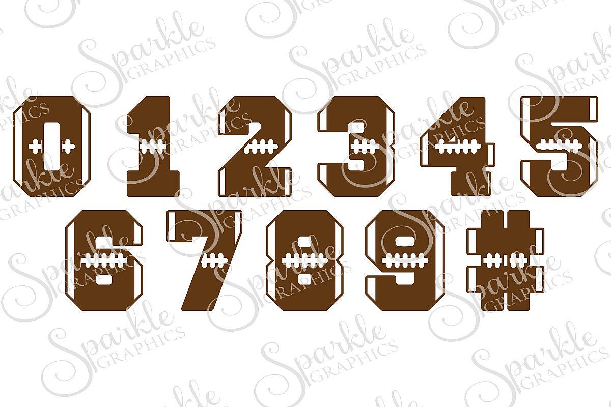 Football Number Font Cut File Set   SVG, EPS, DXF, PNG