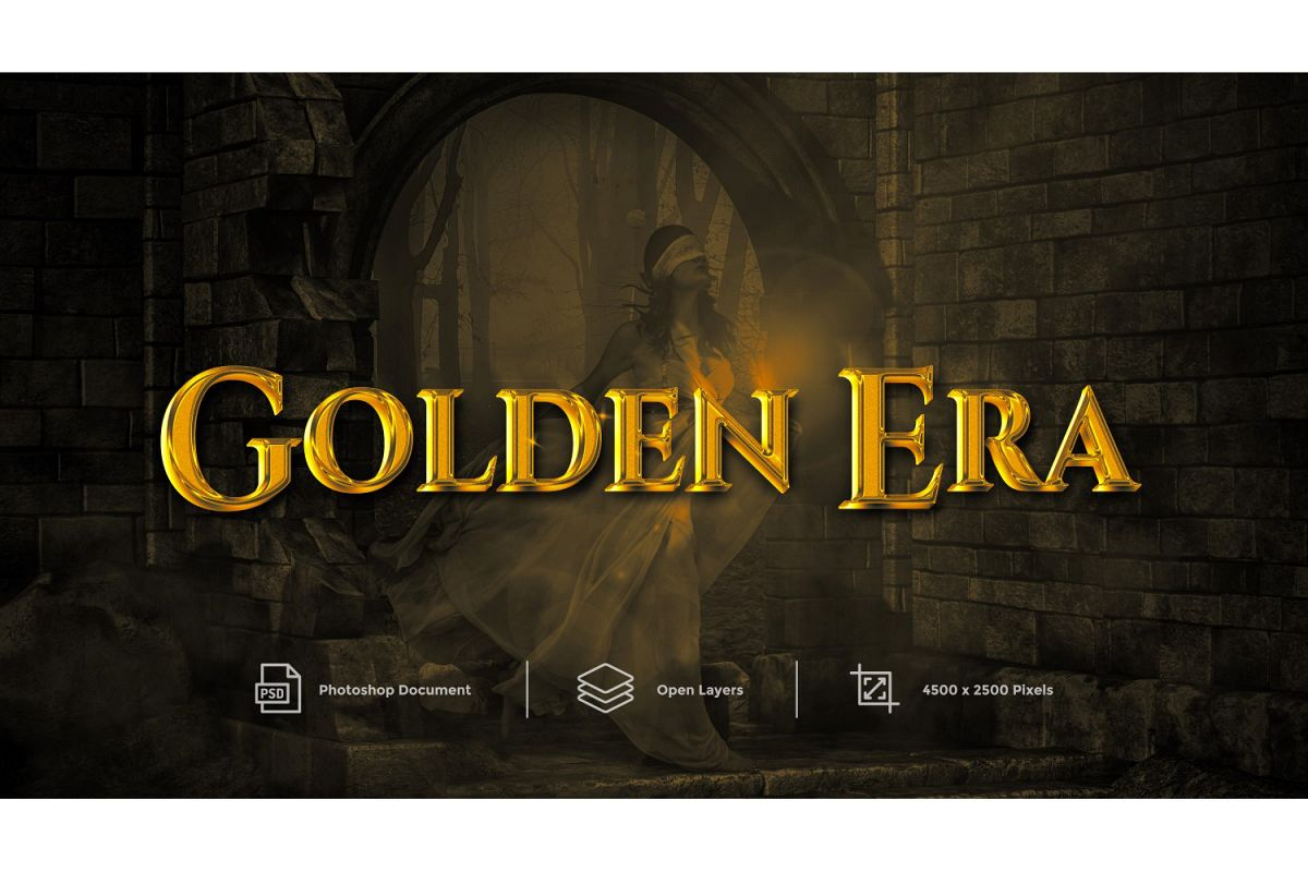 Golden Era Text Effect Design Photoshop Layer Style Effect example image 1