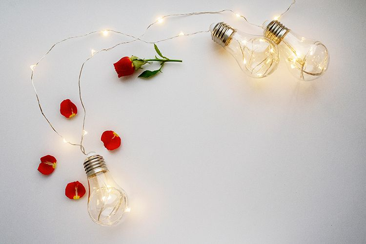 Valentine's day background with lamps example image 1