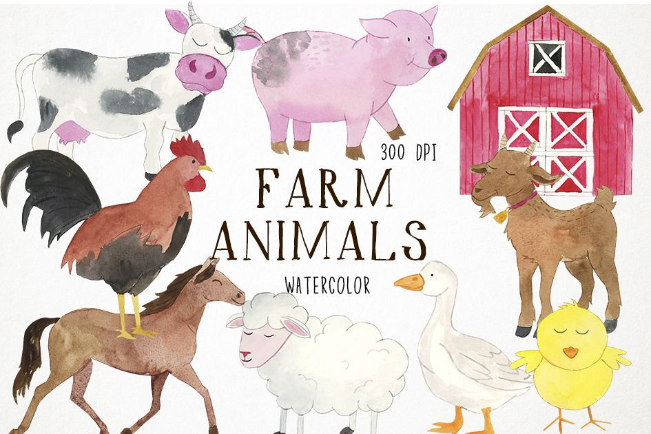 Watercolor Farm Animals Clipart, Farmyard Clipart, Animals example image 1