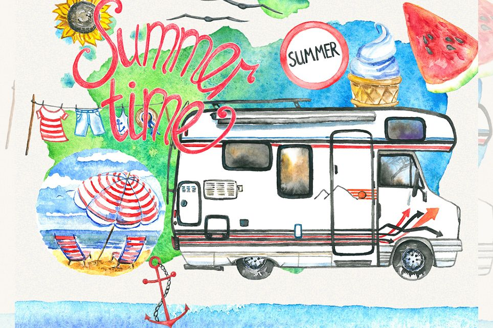 Summer clipart, sea clipart, travel clipart, watercolor example image 1