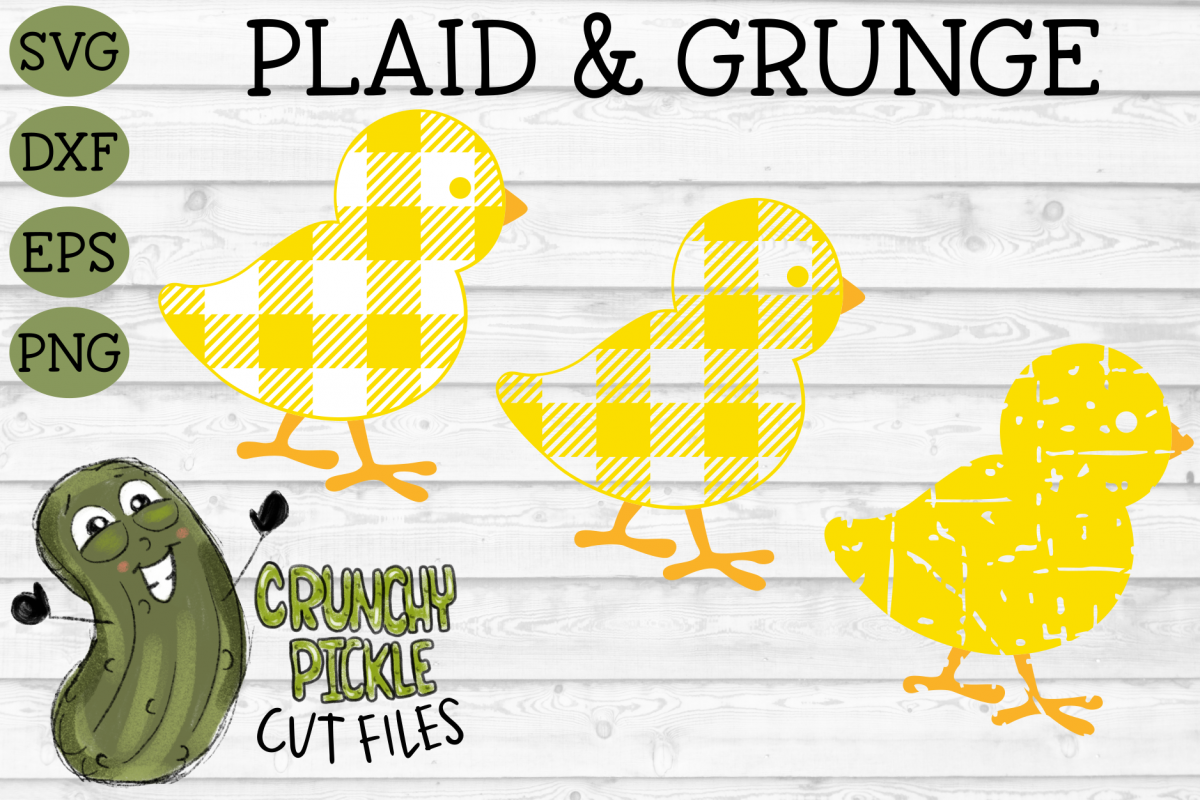 Plaid & Grunge Baby Chick Easter / Spring SVG Cut File example image 1