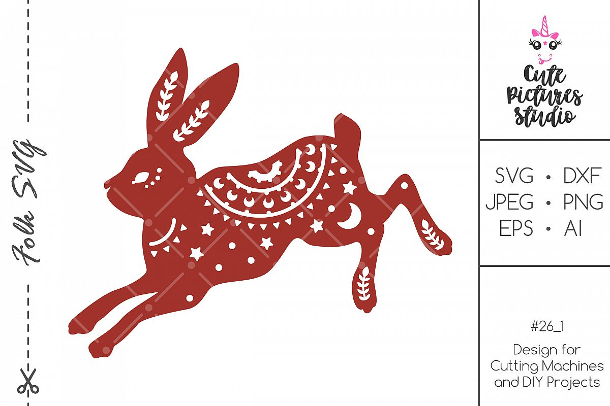 Paper Rabbit Christmas Ornaments SVG dxf png file. example image 1