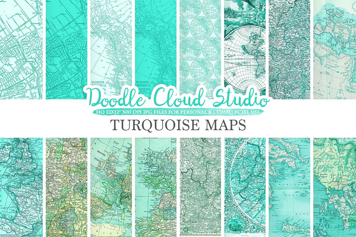 Aqua Vintage Maps digital paper, Turquoise Old World Map, City, Nautical, geographic Urban map textures, Instant Download Commercial Use example image 1
