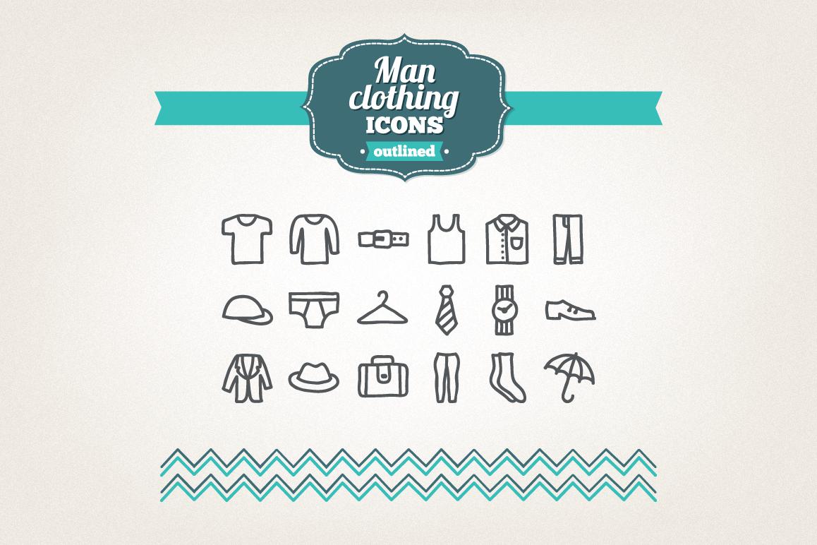 Hand Drawn Man Clothing Icons example image 1