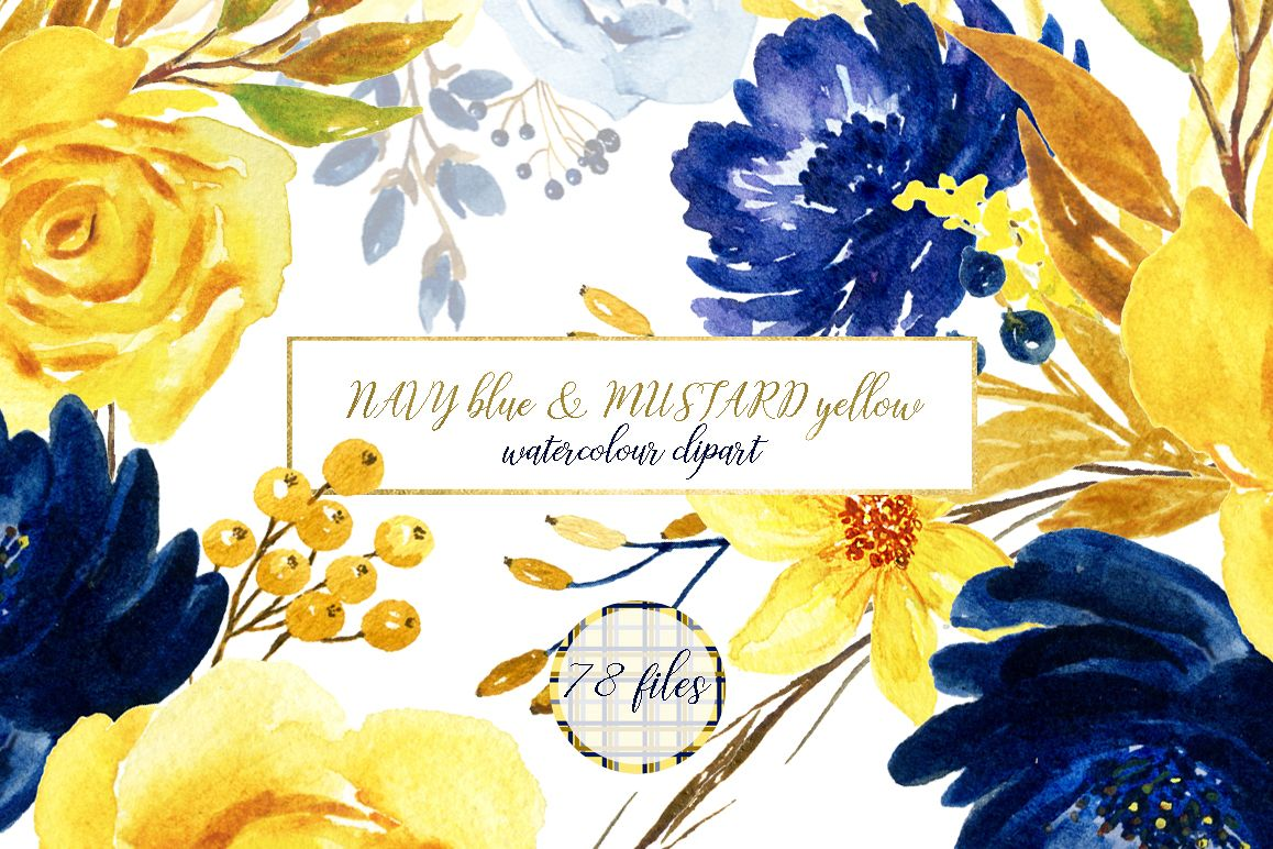 Blue and yellow watercolor flowers by l design bundles blue and yellow watercolor flowers example image mightylinksfo