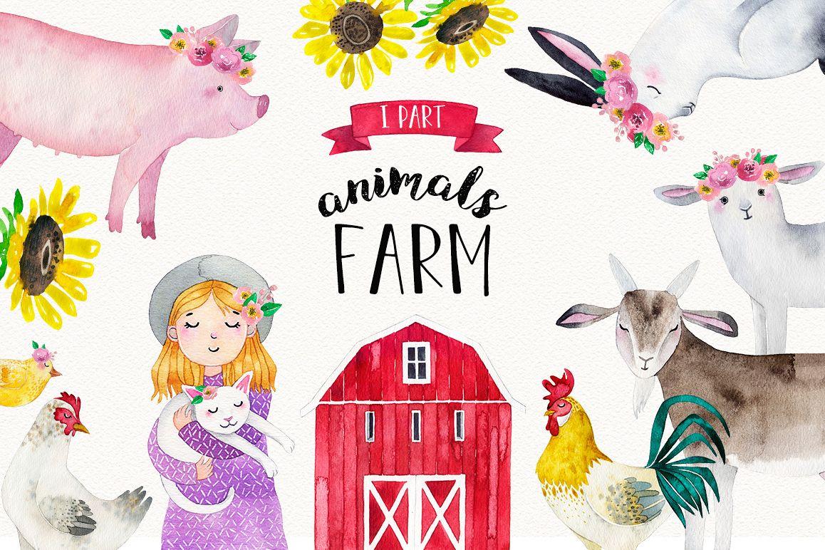 FARM ANIMALS watercolor set PART 1 example image 1