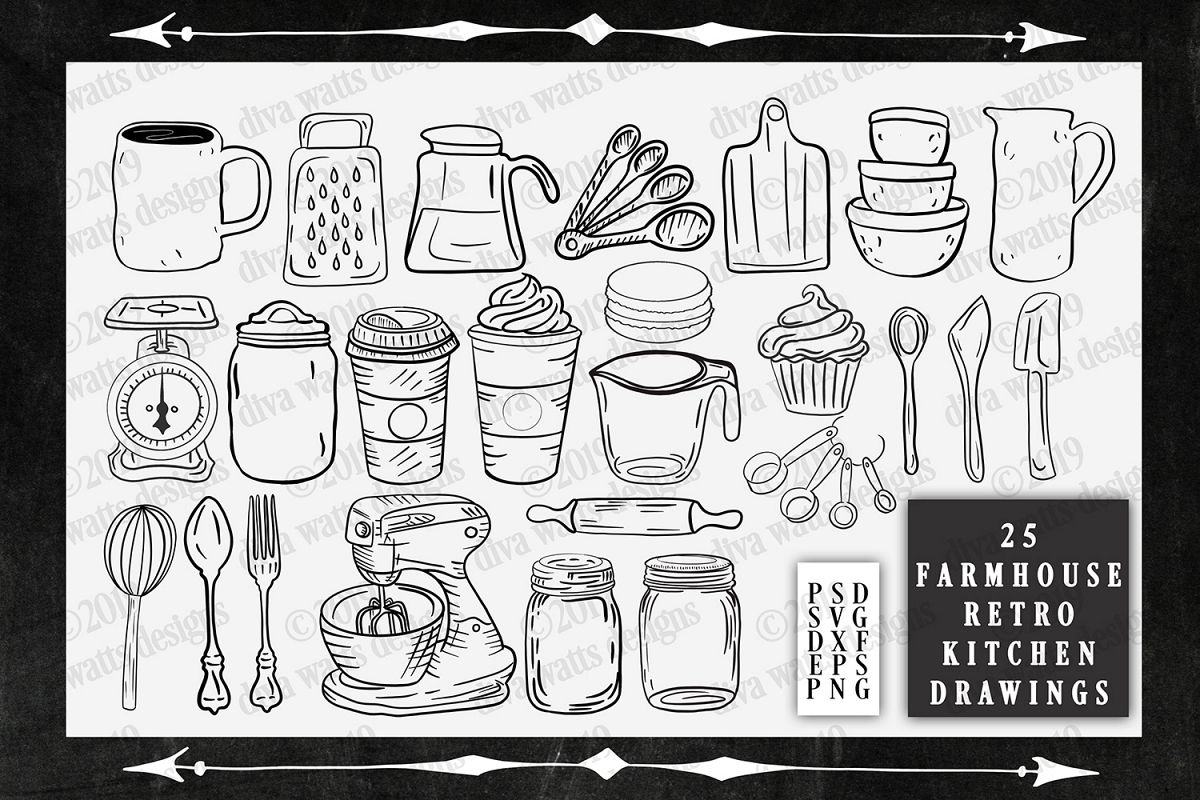 Farmhouse Retro Kitchen Graphics Cutting Files and Clipart example image 1
