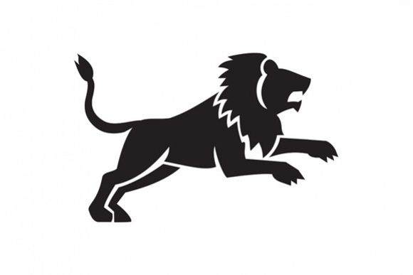 Lion Jumping Silhouette Side Retro example image 1