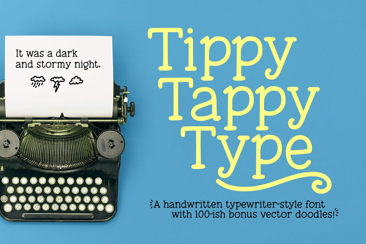 Tippy Tappy Type - a hand-made typewriter-ish font! example image 1