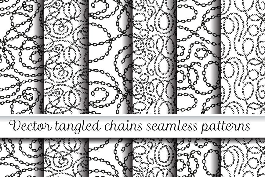 Vector tangled chains seamless patterns set example image 1