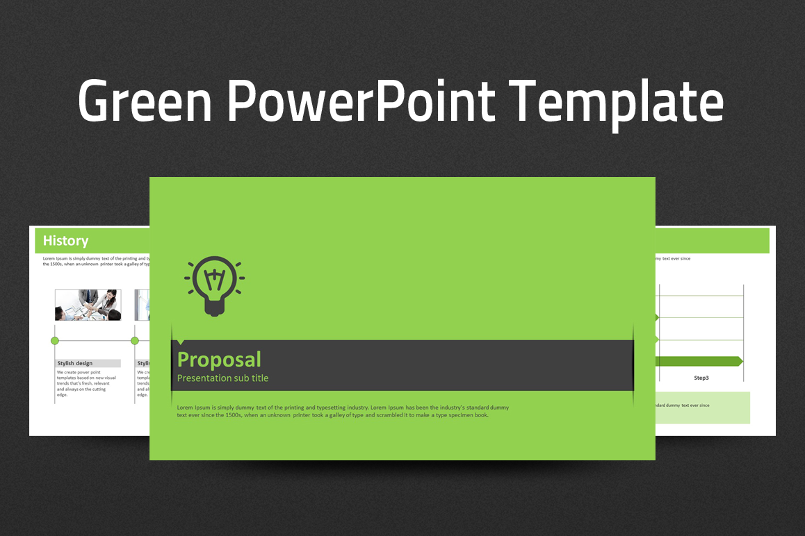 green powerpoint template strategy