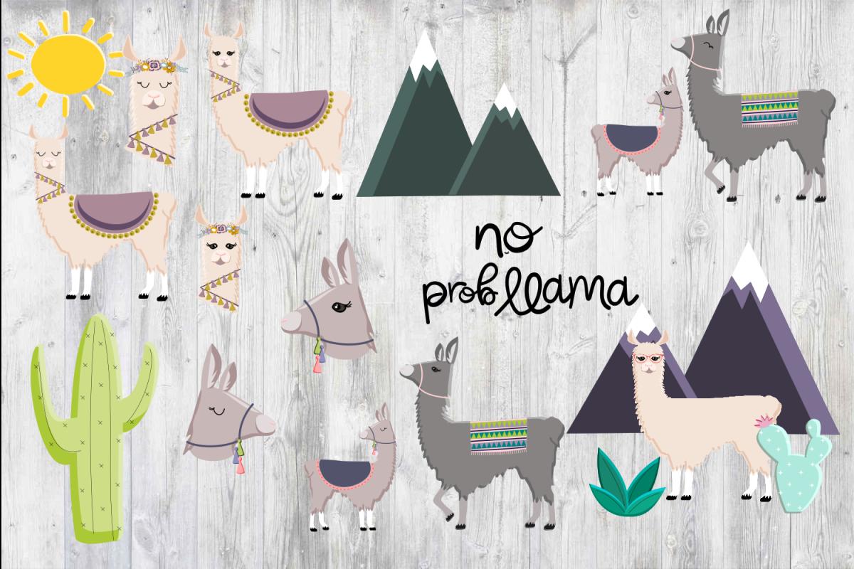 Llama Clipart PNG Baby Nursery Art No Prob Llama Cactus