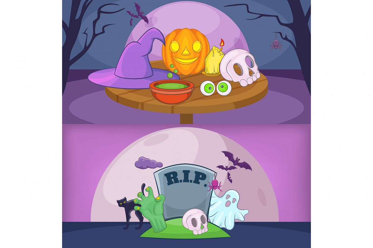 Happy halloween banner backgrouns set, cartoon example image 1