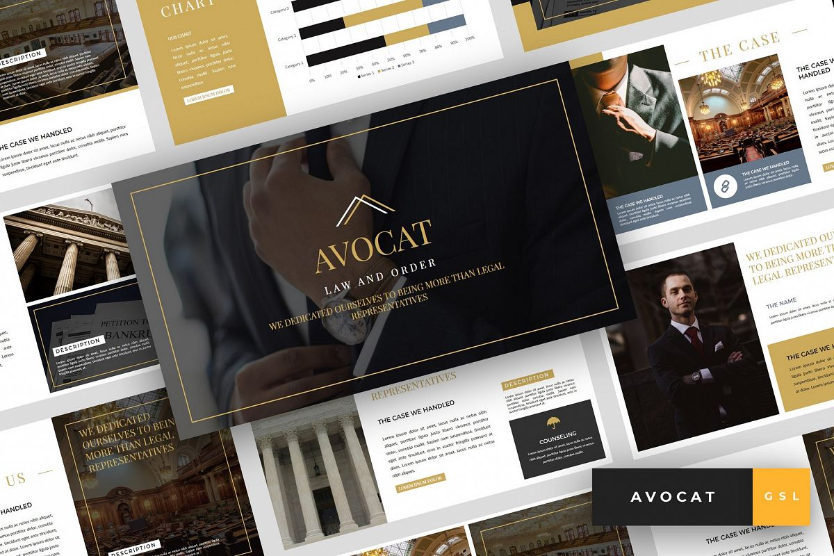 Avocat - Lawyer Google Slides Template example image 1