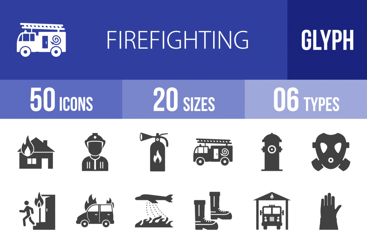 50 Firefighting Glyph Icons example image 1