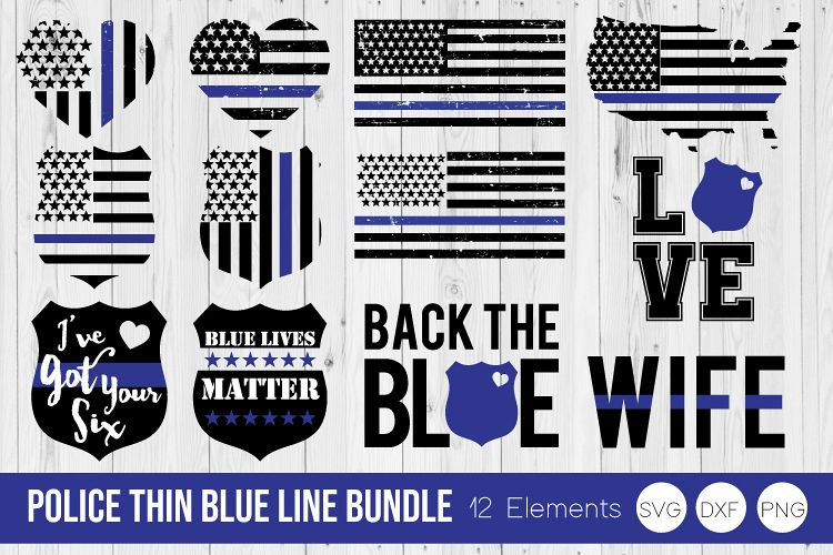 Police Thin Blue Line Bundle SVG DXF, PNG Cut Files example image 1