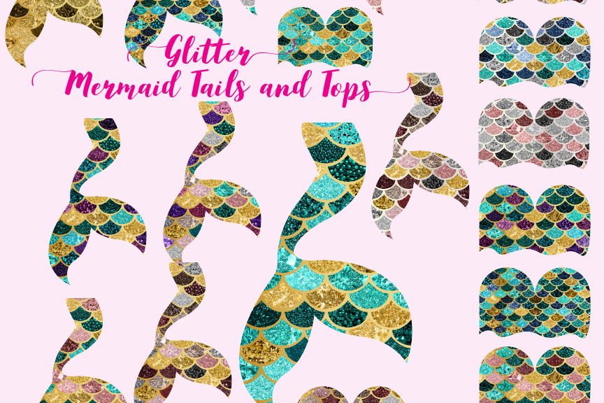 Mermaid glitter. Tails and tops