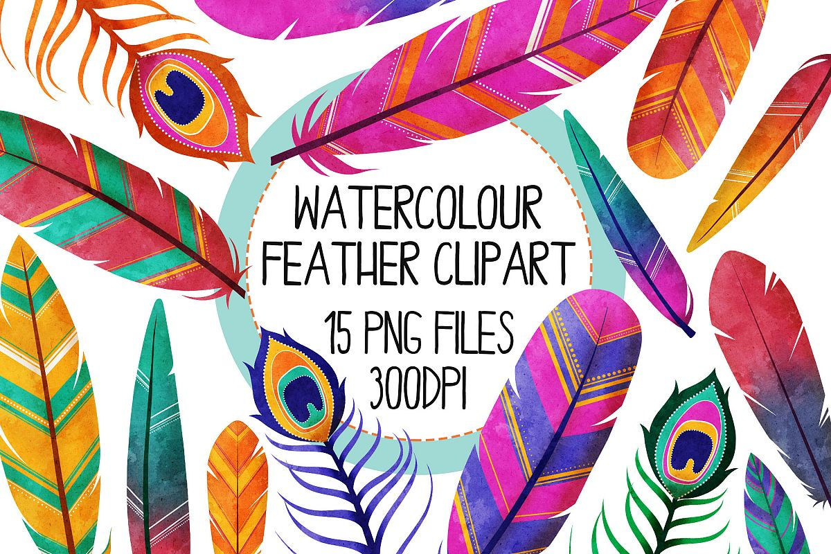 Watercolor Bright Feather Clip Art Set 1 example image 1