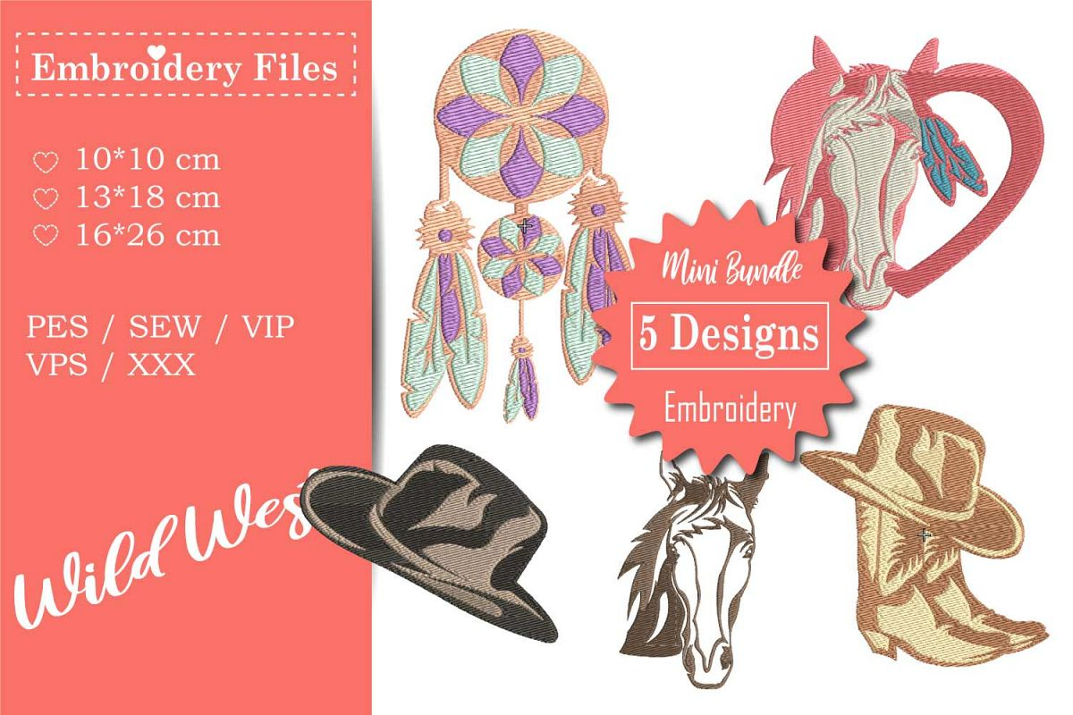 Wild West - Mini Bundle - Embroidery Files for Beginners example image 1