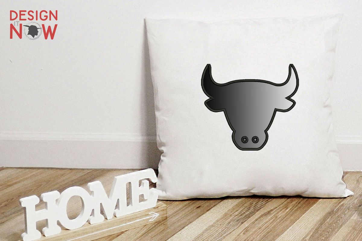 Bull Head Applique Embroidery Design, Embroidery Pattern example image 1