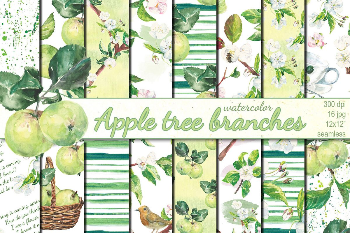 Watercolor Apple tree branches seamless patterns example image 1
