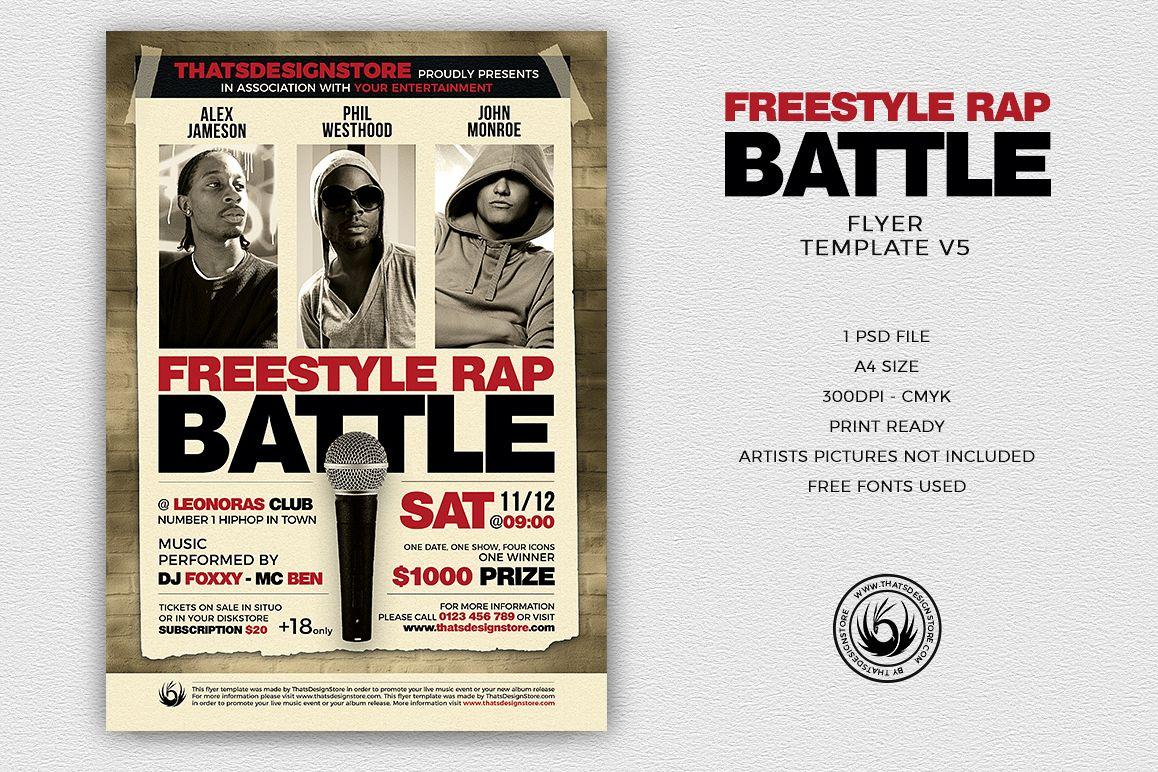 freestyle rap battle flyer template v5 design bundles
