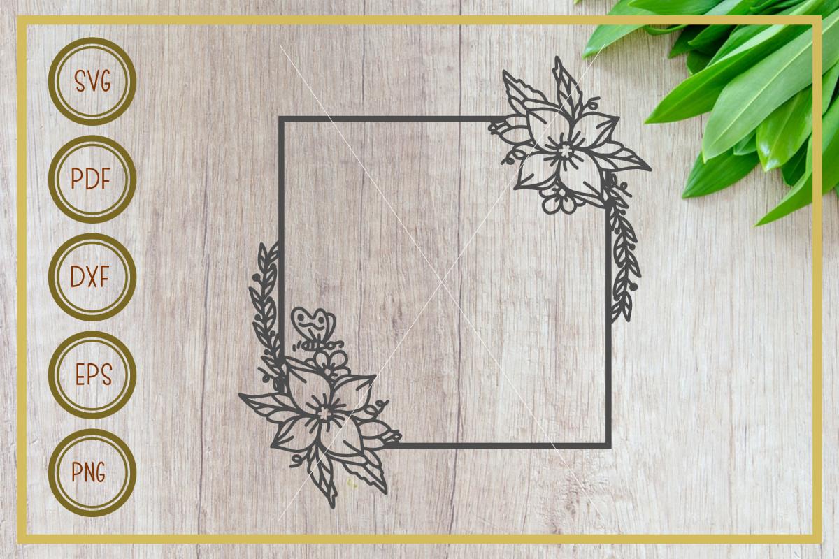 Monogram svg, frame with floral, instant download, cut file example image 1