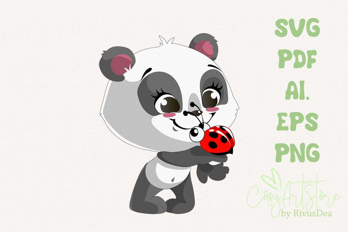 Smiling Panda SVG download, Ladybug Panda PNG, Cute baby example image 1