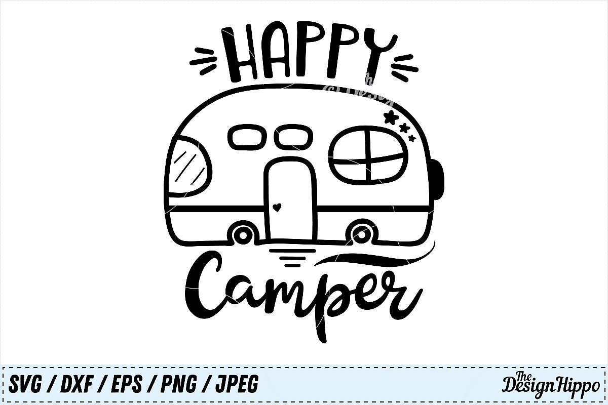 Happy Camper SVG Camp PNG Camping DXF Summer Example Image