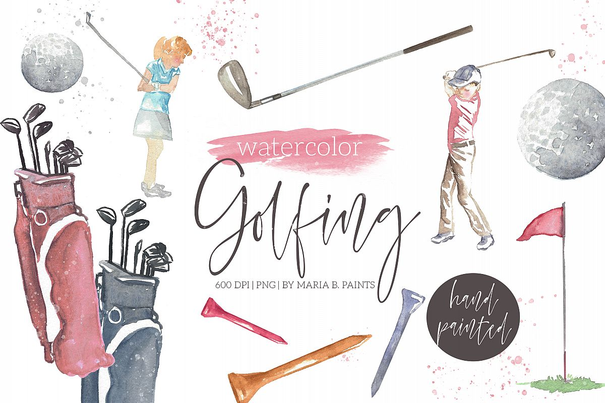 Golf watercolor. Golfing clipart
