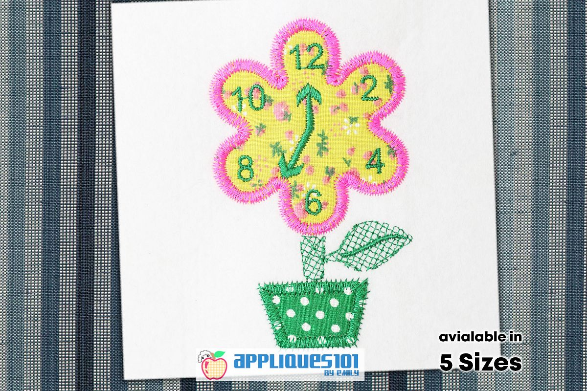 Flower Clock Embroidery Applique Design - Clocks example image 1