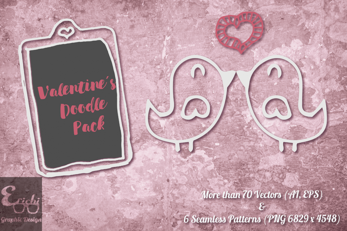Valentines Doodle Pack example image 1