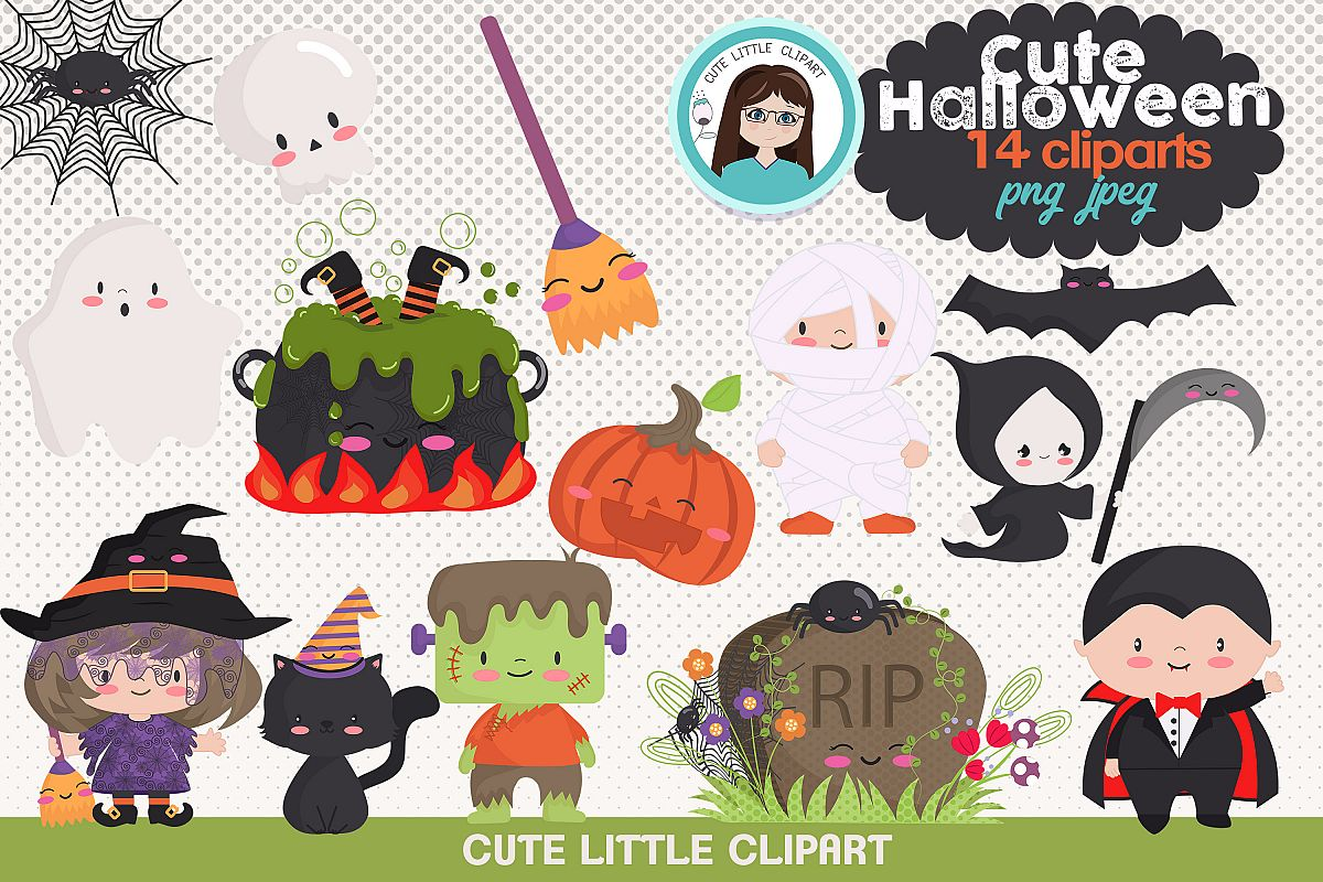Cute Halloween clipart example image 1