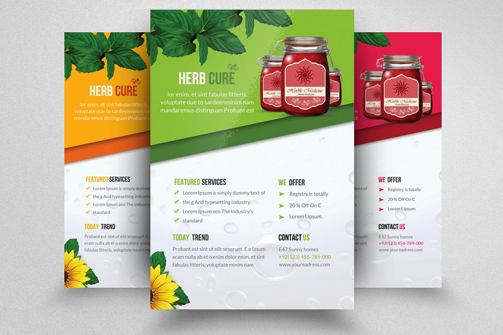 herbal green product promotion flyer