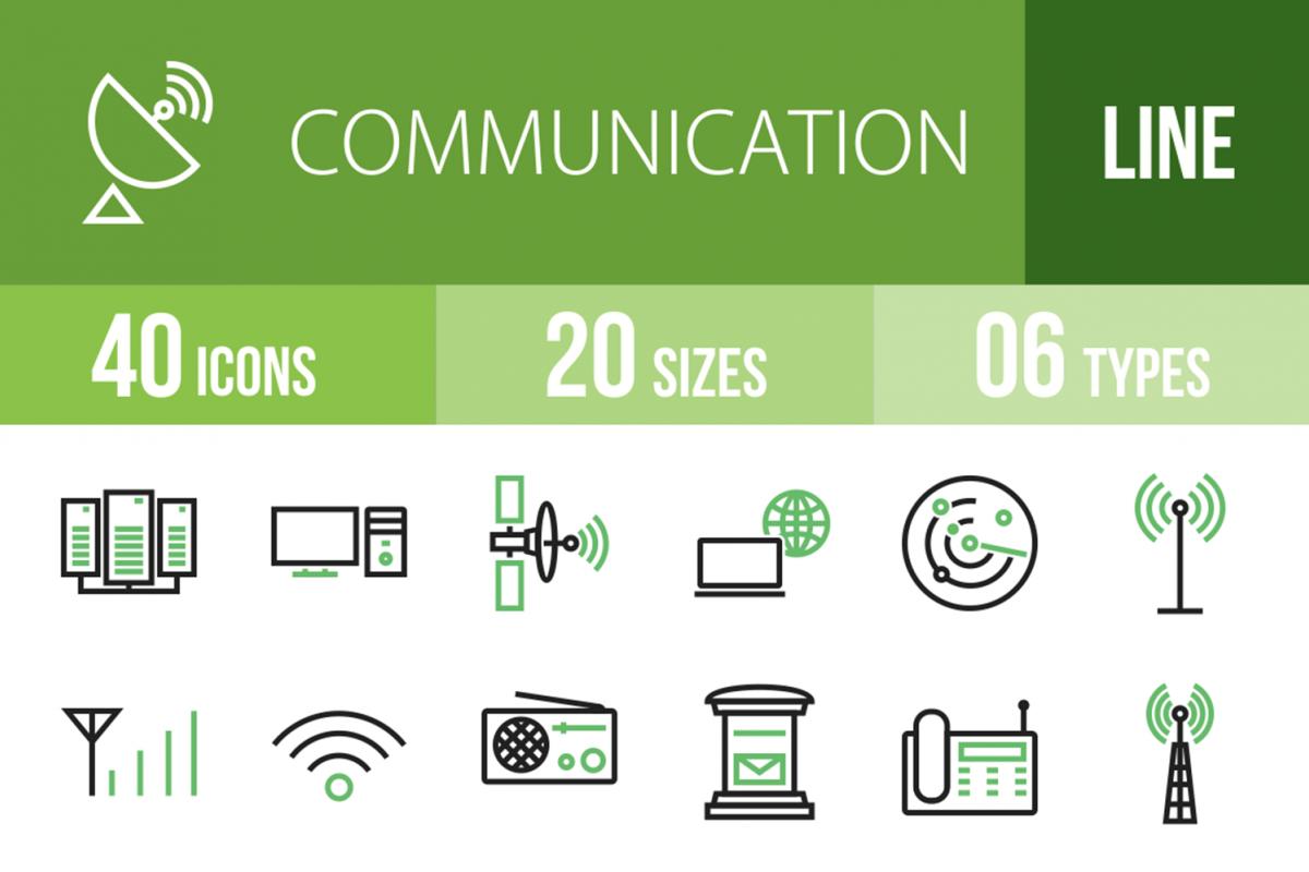 40 Communication Line Green & Black Icons example image 1