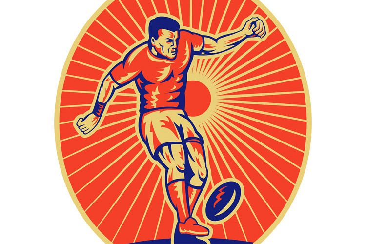 rugby player kicking the ball example image 1