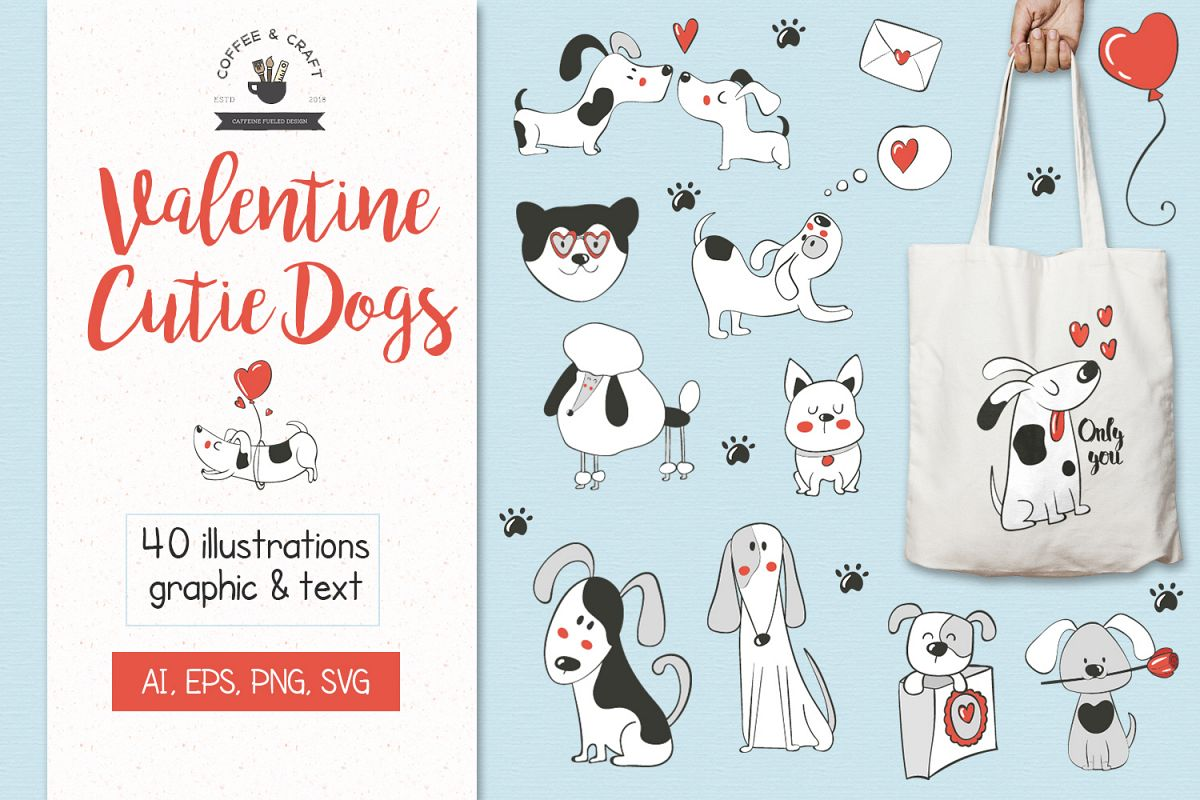 Valentine Cutie Dogs example image 1