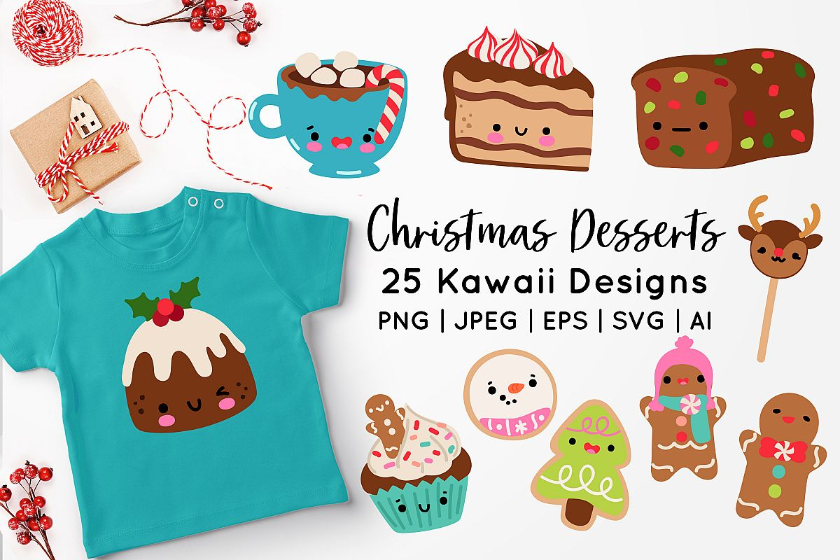 Kawaii Christmas Desserts Vector Graphics bundle example image 1
