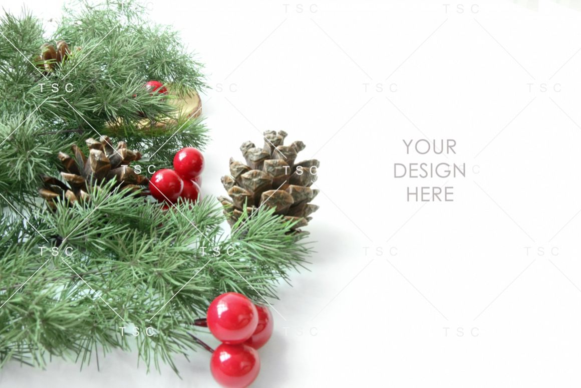 Christmas Stock Photo / Pine Cone / Red / Green example image 1