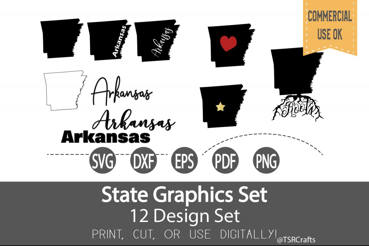 Arkansas State Graphics Set - Clip Art and Digital Cut files example image 1