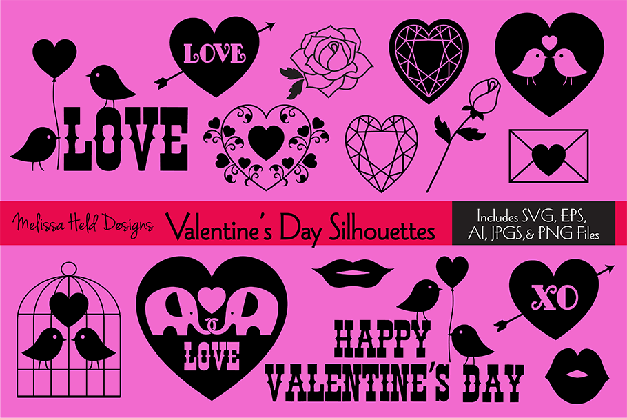 SVG Valentine's Day Silhouettes example image 1