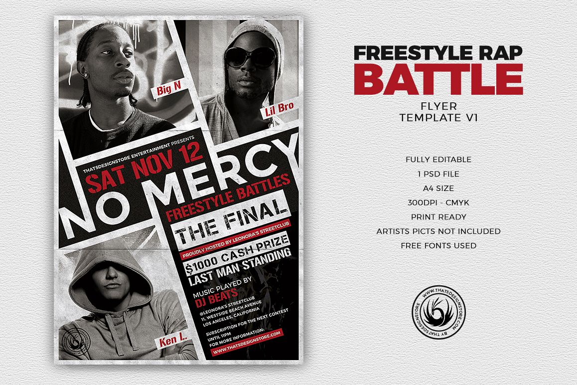 freestyle rap battle flyer template v1