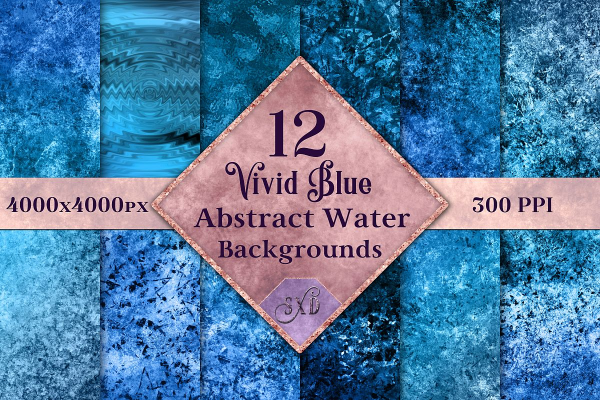 Vivid Blue Abstract Water Backgrounds - 12 Image Textures example image 1