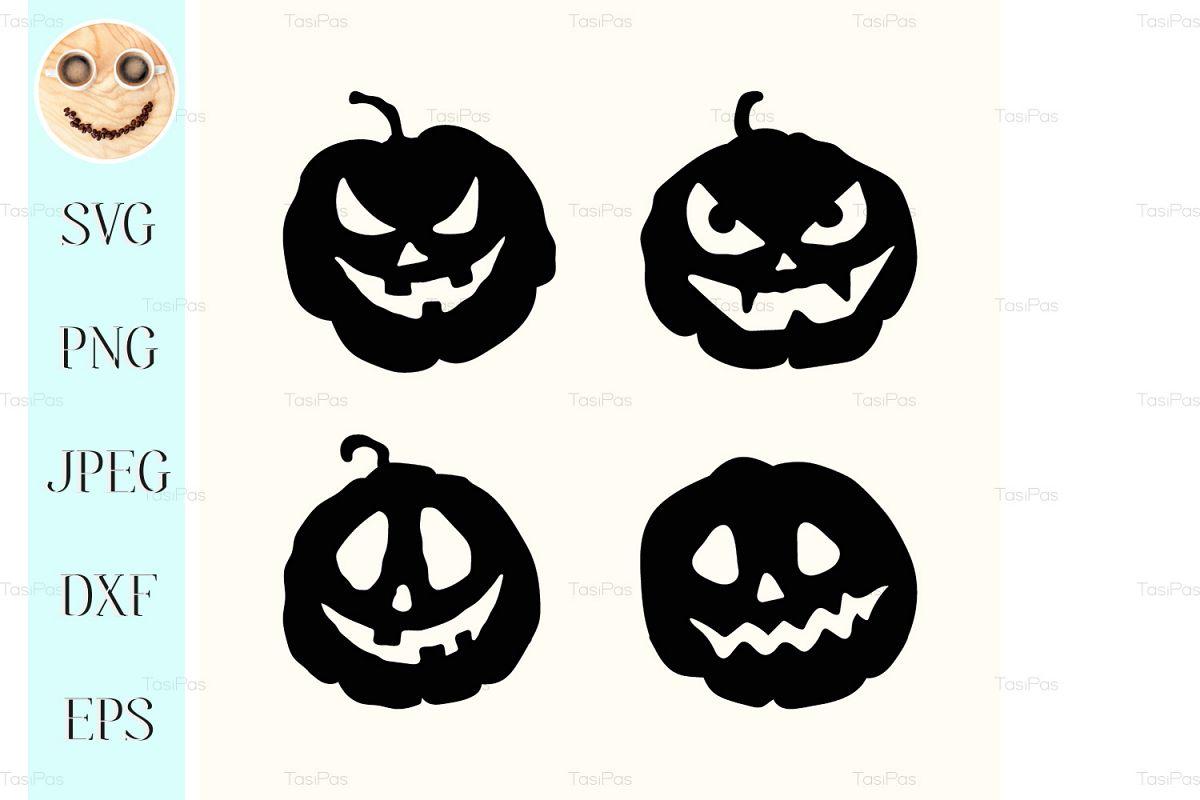 Halloween silhouette spooky face pumpkins set