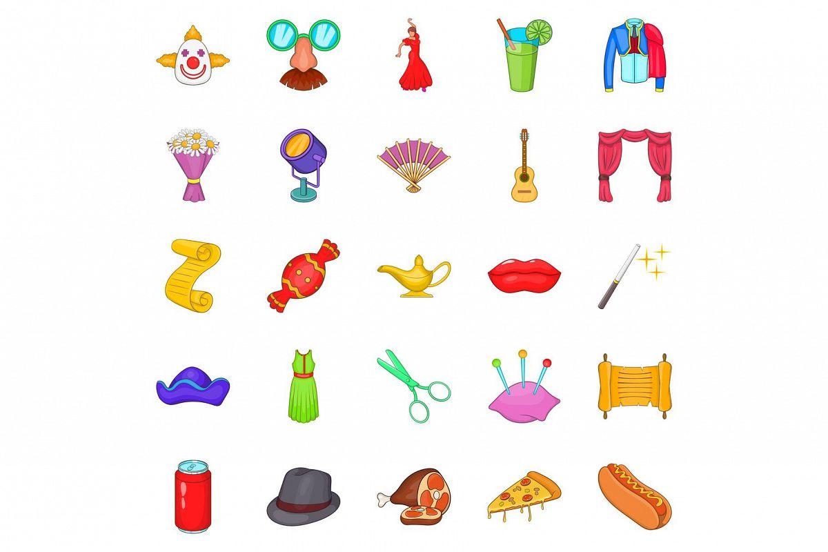 Gladden icons set, cartoon style example image 1