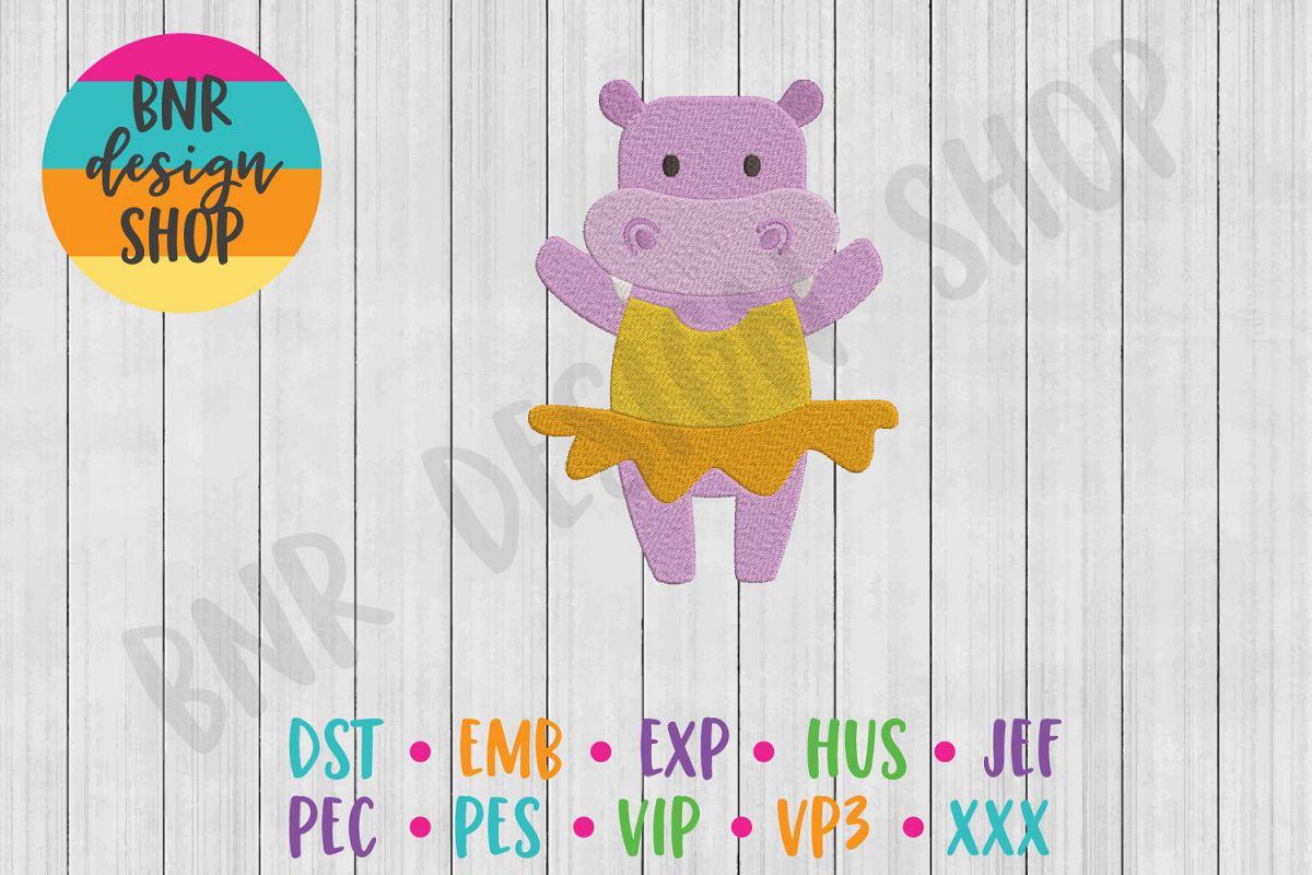 Hippo Ballerina Machine Embroidery Design example image 1